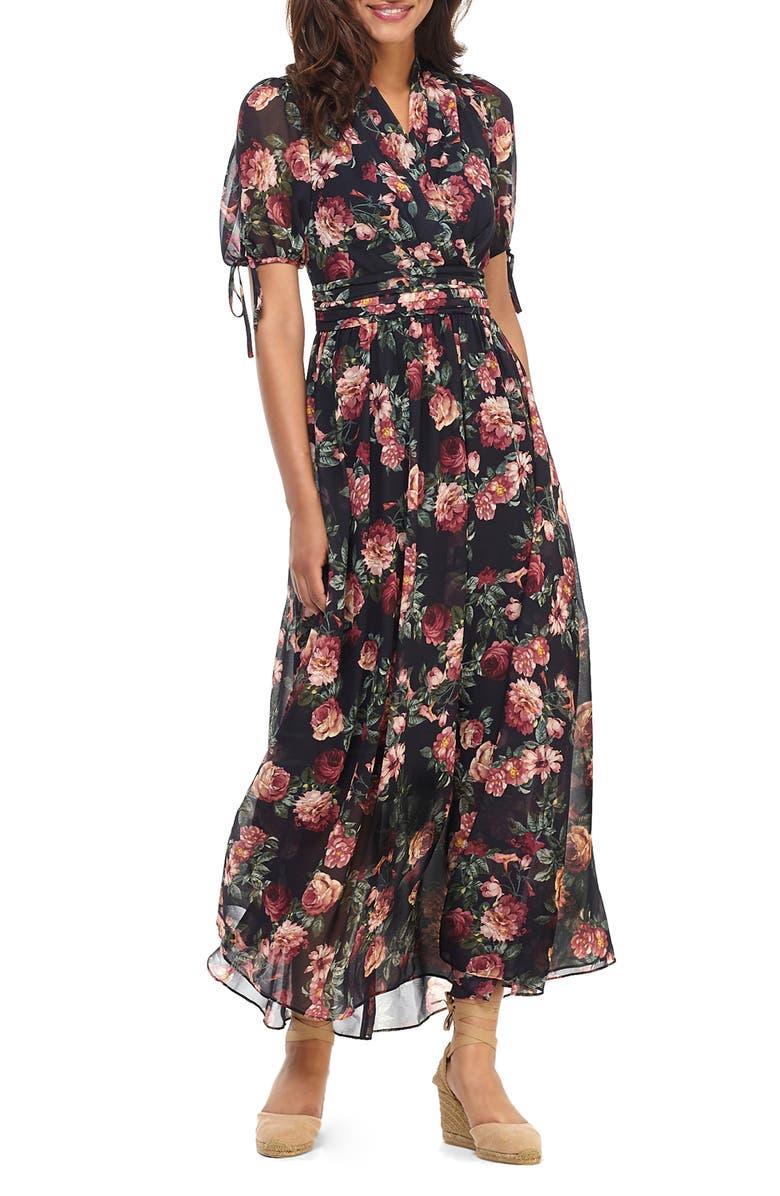 GAL MEETS GLAM COLLECTION Ashlynn Floral Print Chiffon Maxi Dress, Main, color, NAVY GROUND