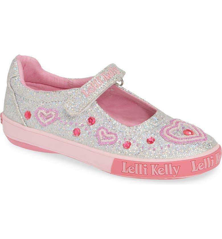 LELLI KELLY Beaded Heart Glitter Mary Jane Sneaker, Main, color, 040