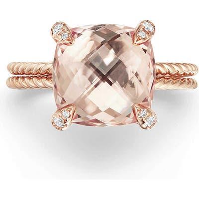 David Yurman Chatelaine Morganite & Diamond Ring In 18K Rose Gold