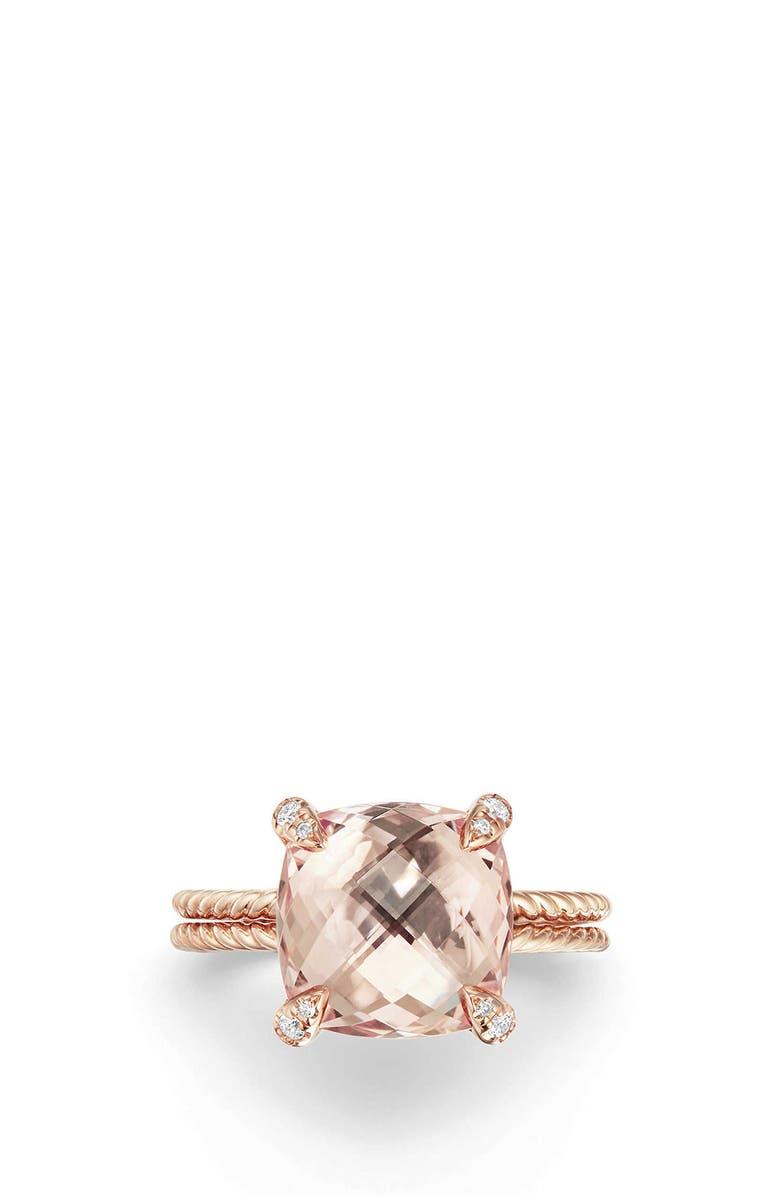 DAVID YURMAN Chatelaine<sup>®</sup> Morganite & Diamond Ring in 18K Rose Gold, Main, color, ROSE GOLD/ DIAMOND/ MORGANITE