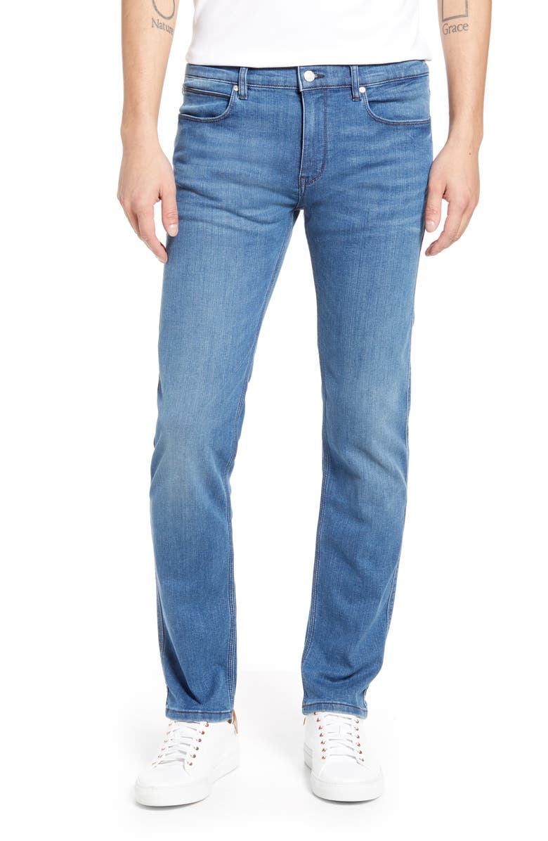 HUGO Slim Fit Jeans, Main, color, MEDIUM BLUE