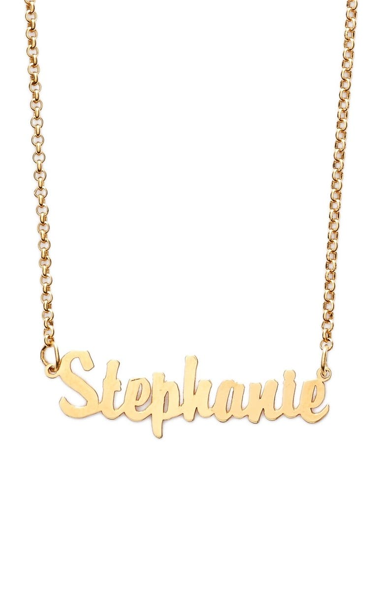 ARGENTO VIVO Personalized Script Name Necklace, Main, color, GOLD
