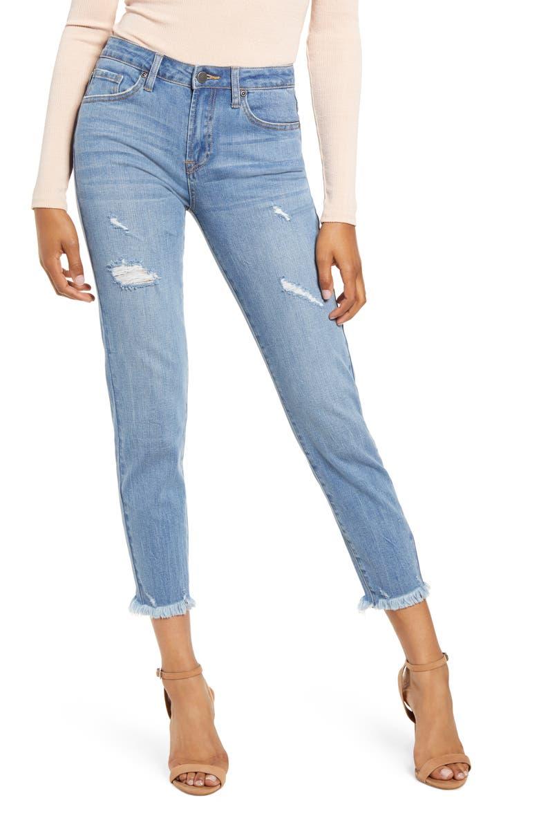 ENGLISH FACTORY Raw Hem Skinny Jeans, Main, color, DENIM