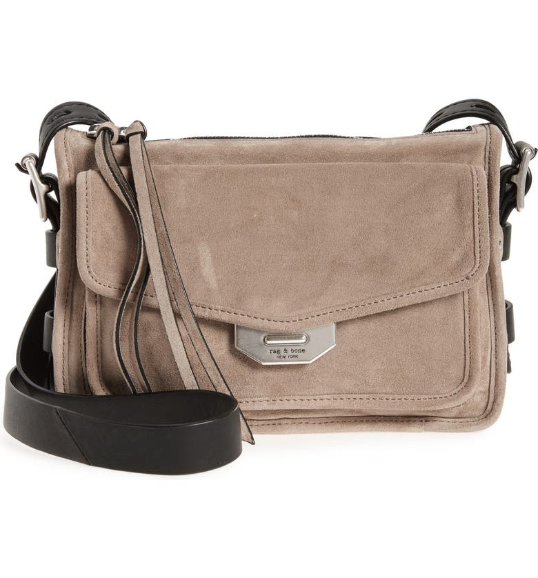RAG & BONE Small Leather Field Messenger Bag, Main, color, WARM GREY SUEDE
