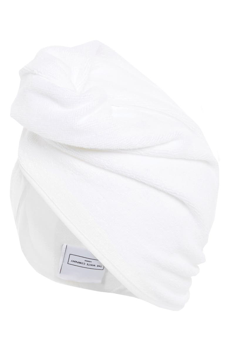 THE WHITE COMPANY Terry Cotton Hair Wrap, Main, color, WHITE