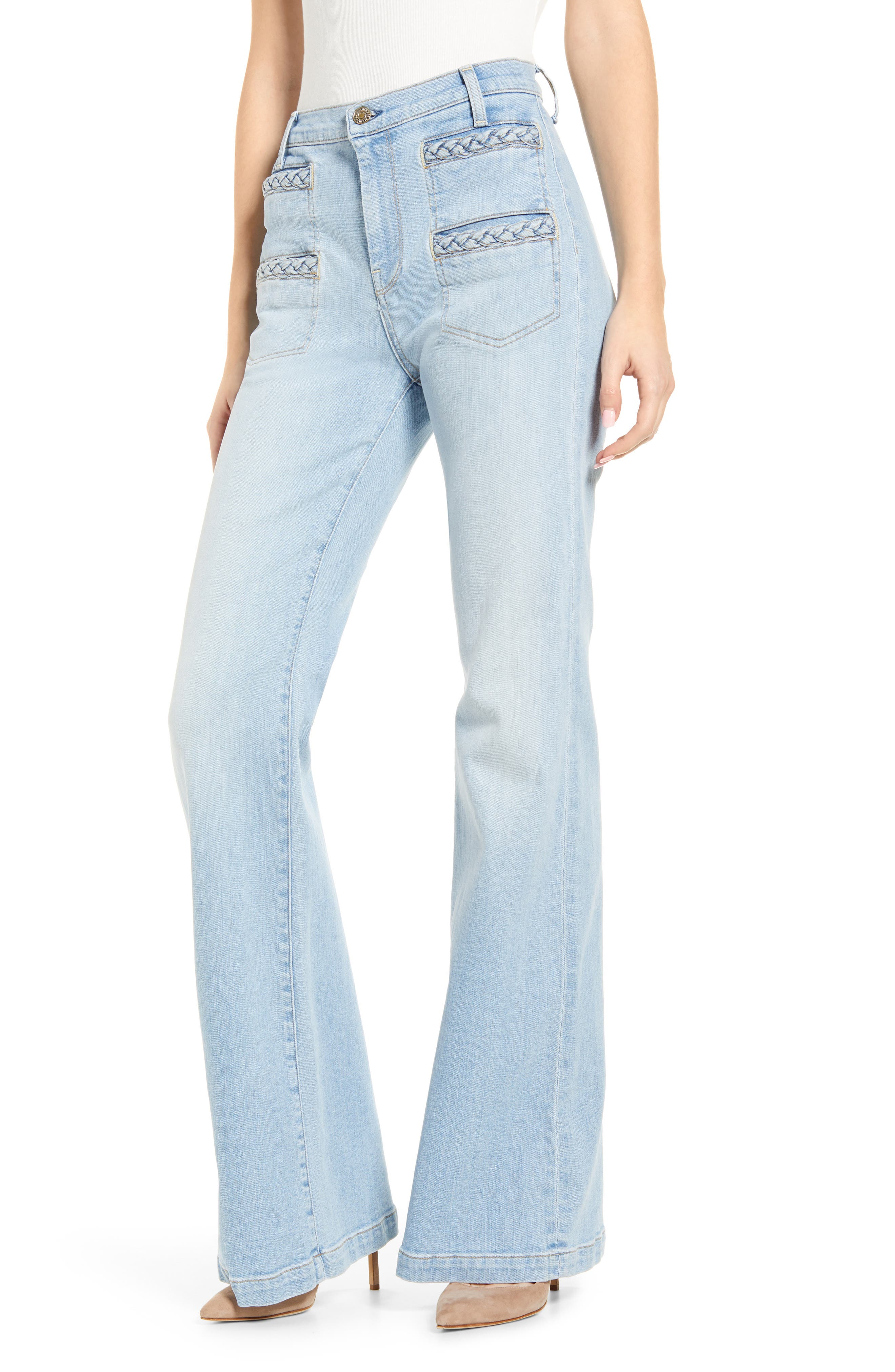 Women's 7 For All Mankind Georgia Braided Welt High Waist Flare Jeans