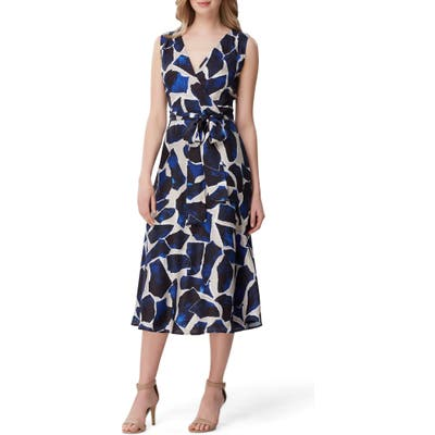 Tahari Faux Wrap Midi Dress, Blue