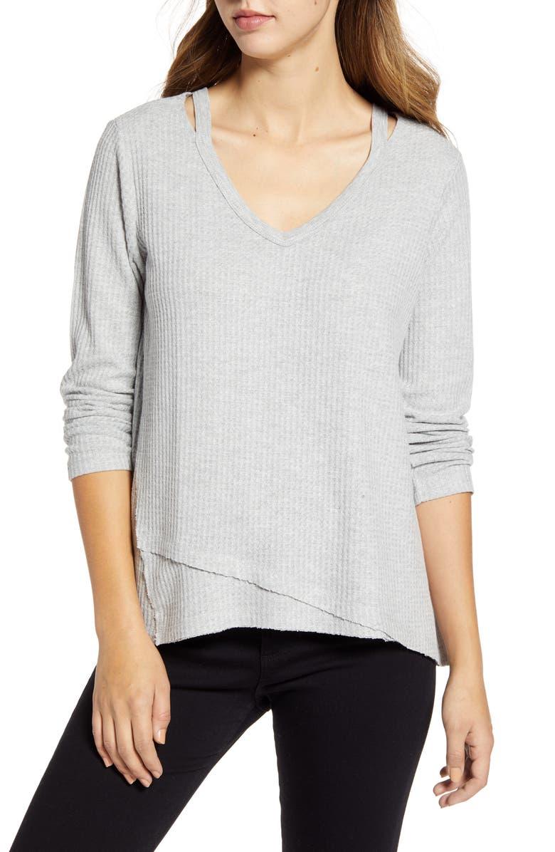 WIT & WISDOM Shoulder Slit Thermal Knit Top, Main, color, HEATHER GREY