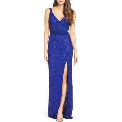 MAC Duggal Beaded Mesh Gown, Blue