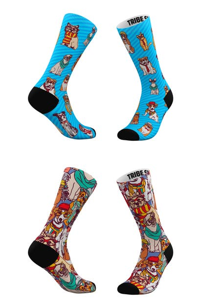 Tribe Socks ASSORTED 2-PACK HIPSTER PETS & HIPSTER DOGS CREW SOCKS