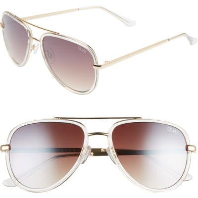 Quay Australia X Jlo All In 52Mm Mini Aviator Sunglasses - Clear/ Brown Flash