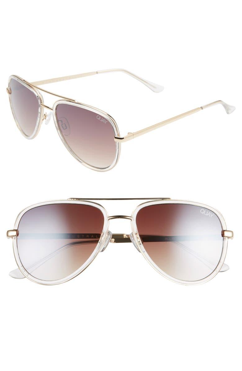QUAY AUSTRALIA x JLO All in 52mm Mini Aviator Sunglasses, Main, color, CLEAR/ BROWN FLASH