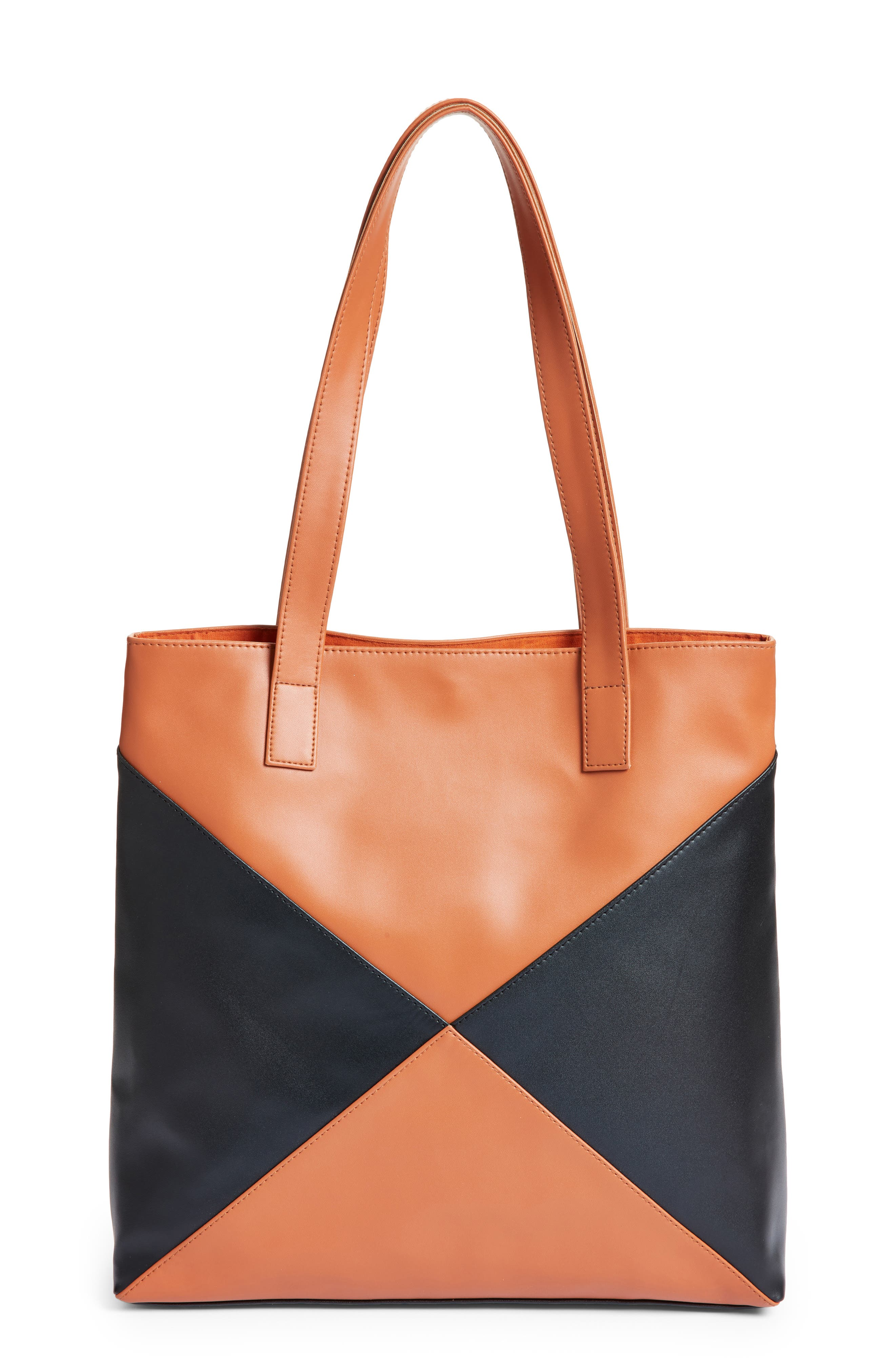 Geometric Colorblock Faux Leather Tote