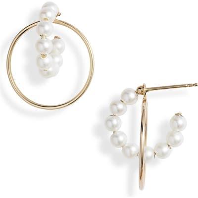 Poppy Finch Pearl Hoop Convertible Drop Back Earrings