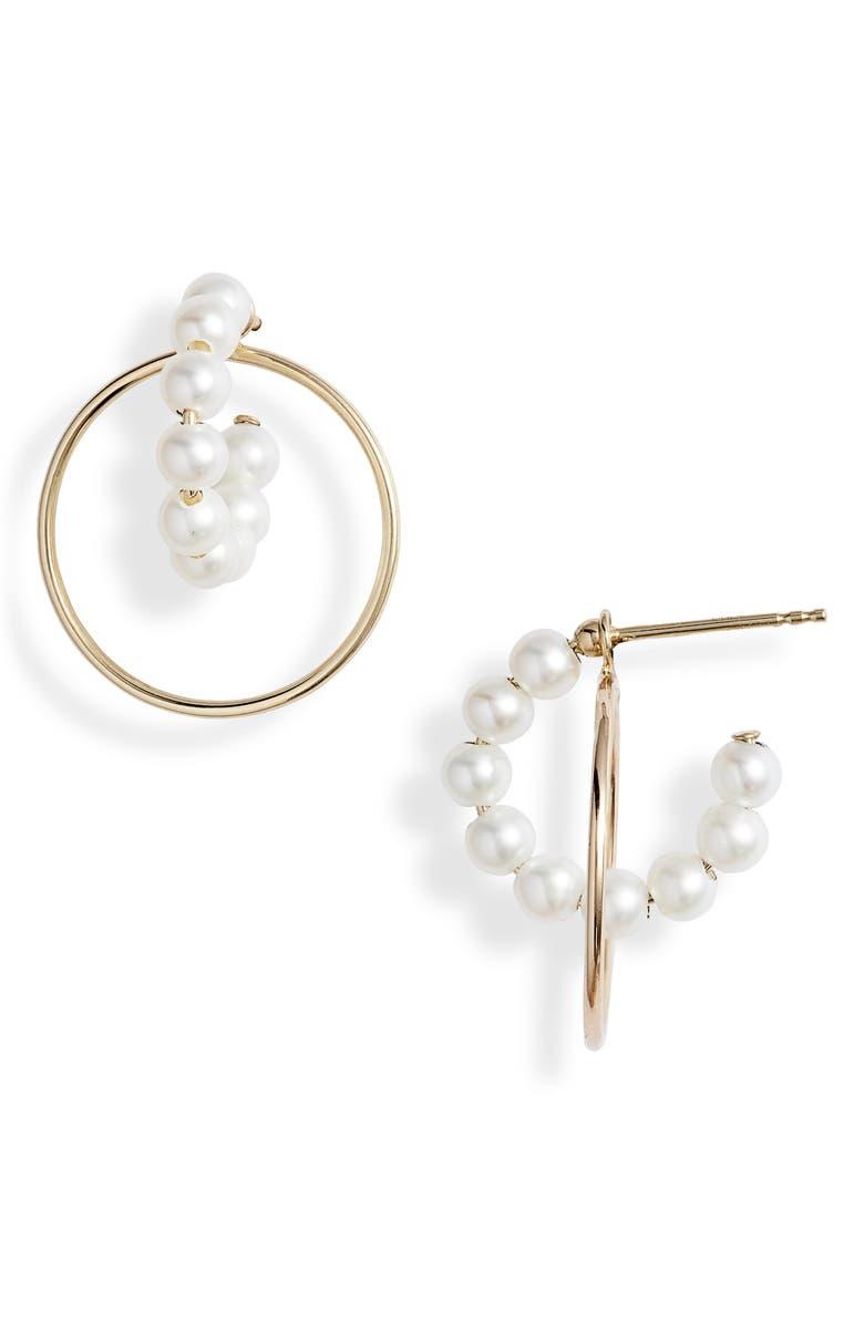 POPPY FINCH Pearl Hoop Convertible Drop Back Earrings, Main, color, YELLOW GOLD/ PEARL