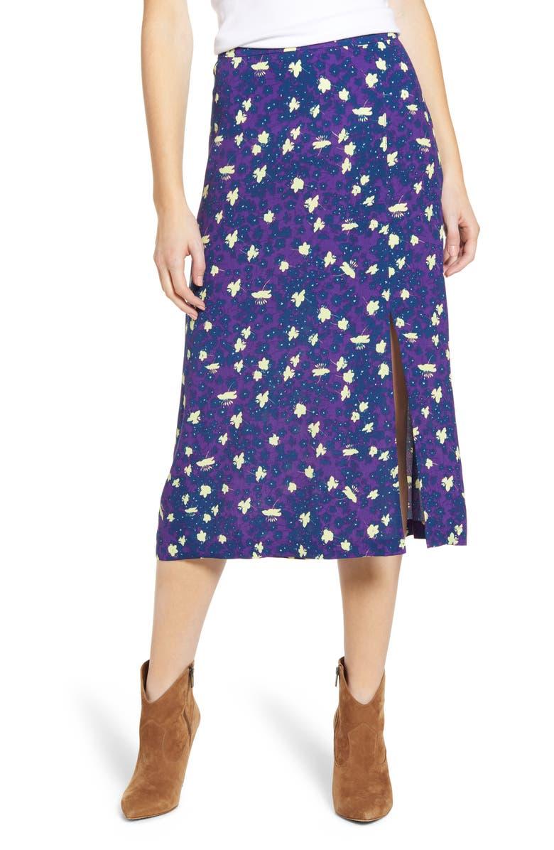 HINGE Floral Midi Skirt, Main, color, 501