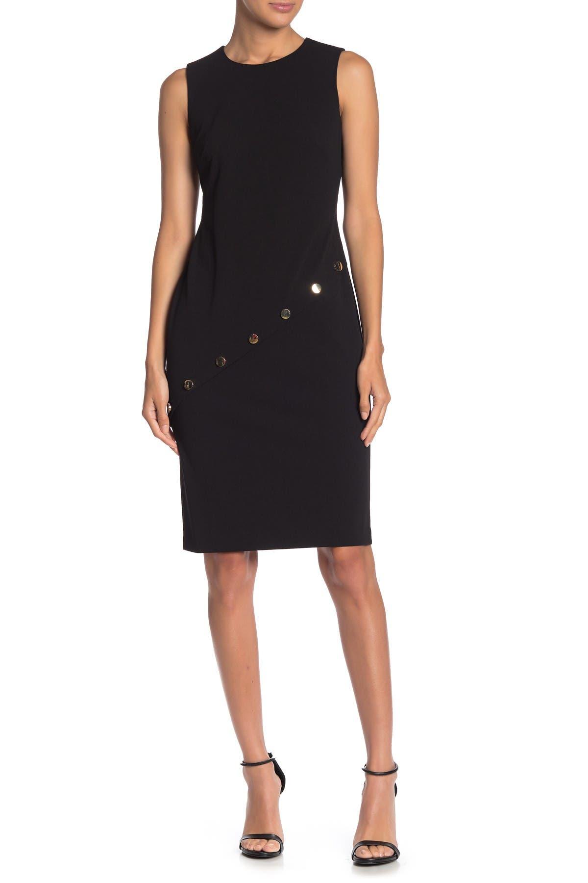 Image of ZNDU Modern American Designer Diagonal Button Sheath Dress