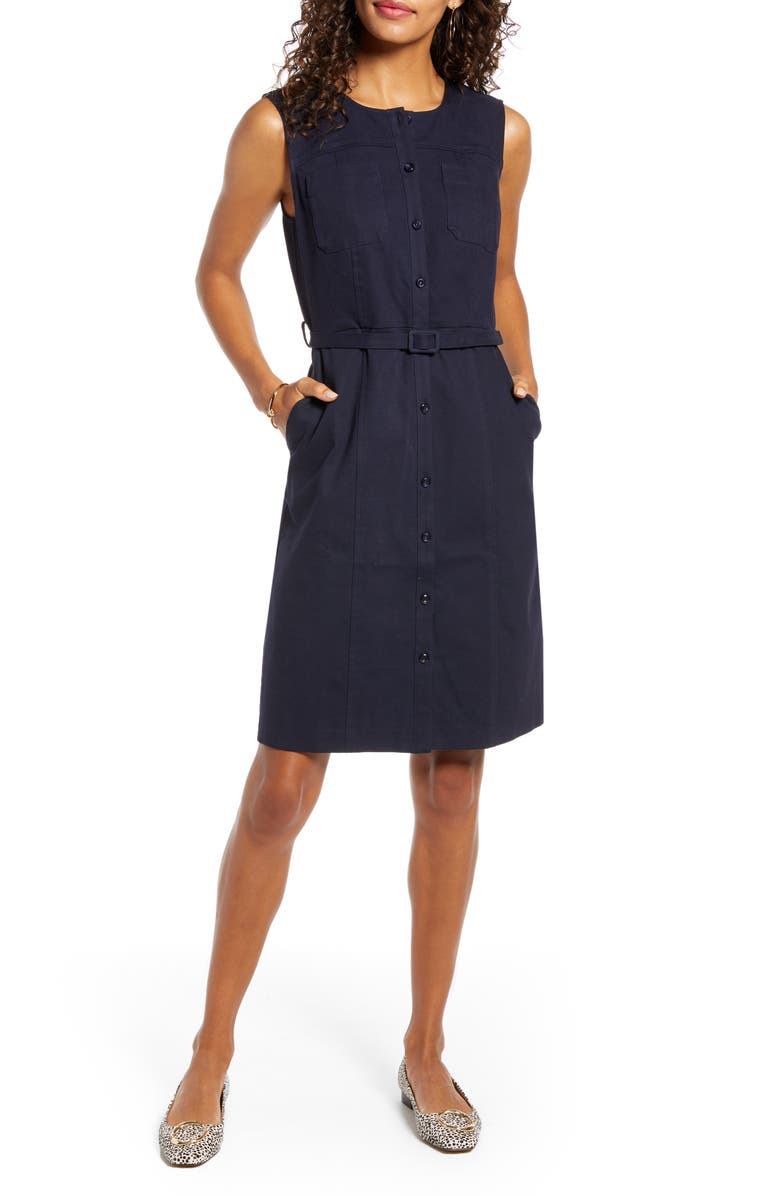 1901 Belted Sleeveless Twill Dress, Main, color, NAVY NIGHT