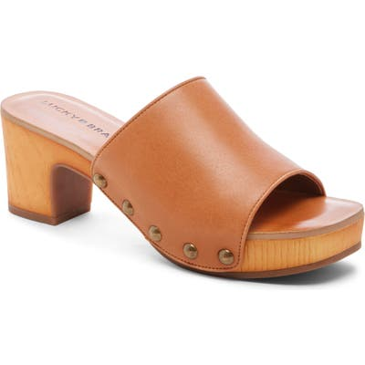 Lucky Brand Fineena Clog Slide Sandal, Brown