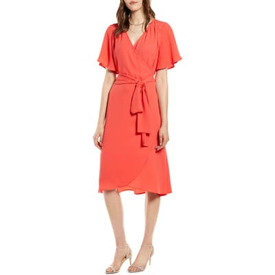 Petite Halogen Wrap Dress, Red