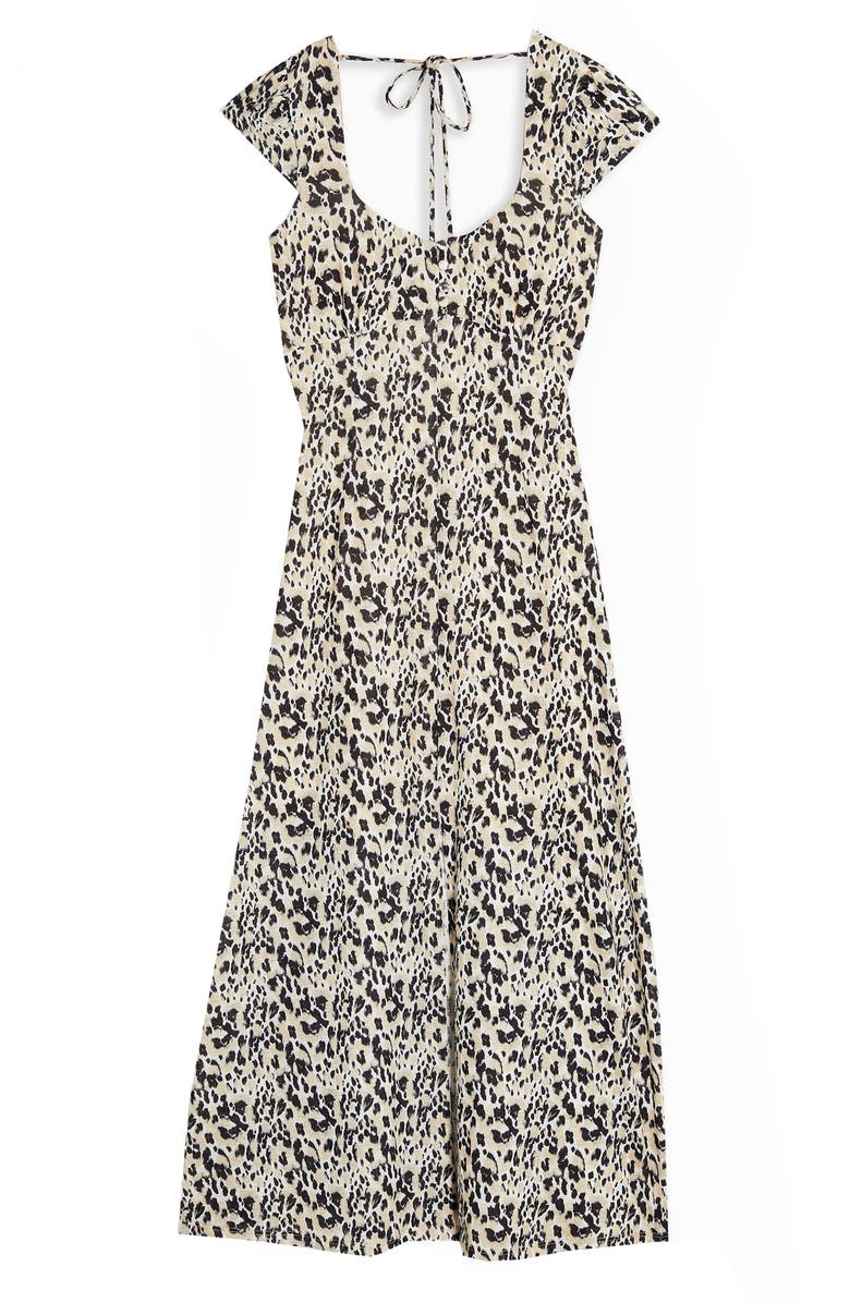 TOPSHOP Animal Print Midi Dress, Main, color, NATURAL