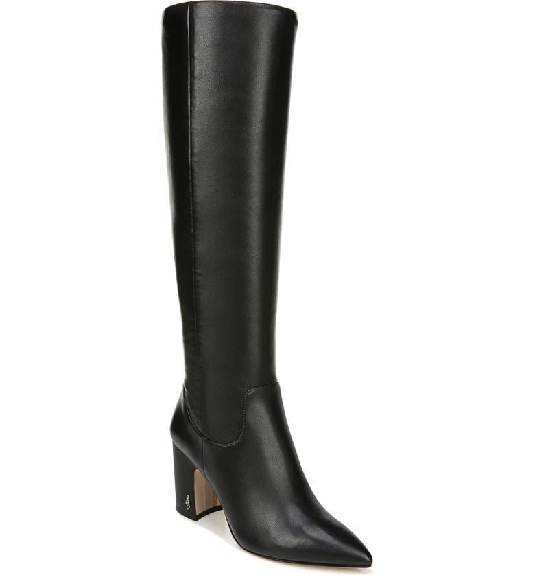 SAM EDELMAN Hai Knee High Boot, Main, color, BLACK LEATHER LEATHER