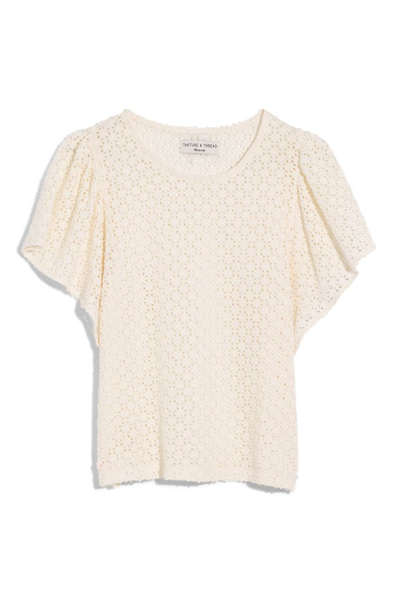MADEWELL Texture & Thread Eyelet Flutter Sleeve Top, Main, color, BRIGHT IVORY