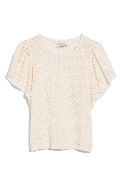 Image of Madewell Texture & Thread Eyelet Flutter Sleeve Top