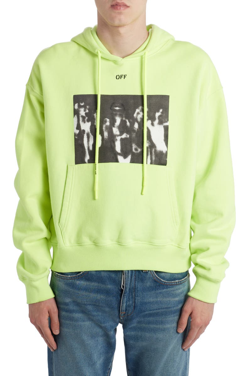 OFF-WHITE Spray Painting Arrows Cotton Hoodie, Main, color, FLUO YELLOW
