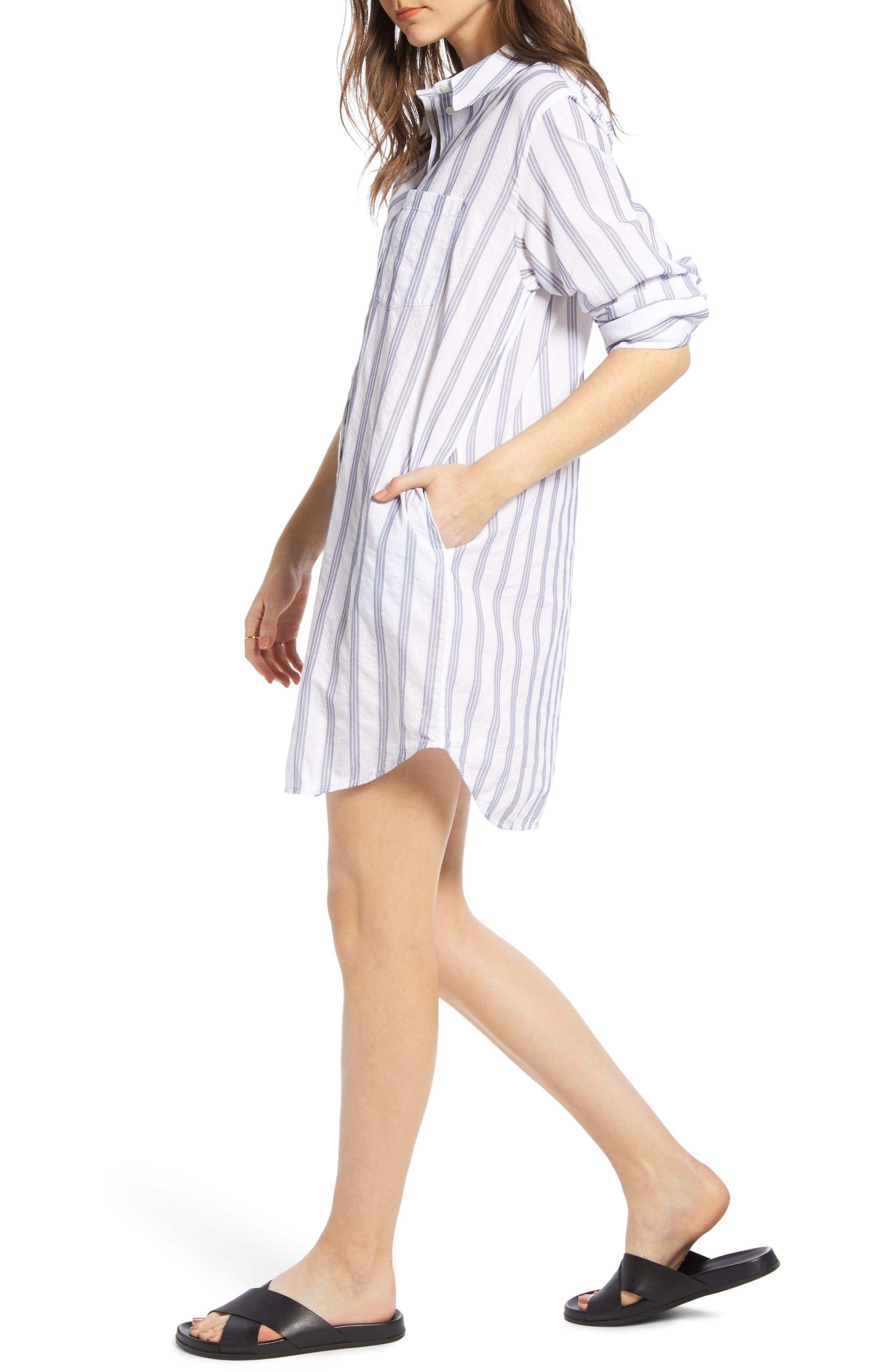 ,                             Stripe Shirtdress,                             Alternate thumbnail 4, color,                             BLUE- WHITE TAILOR STRIPE