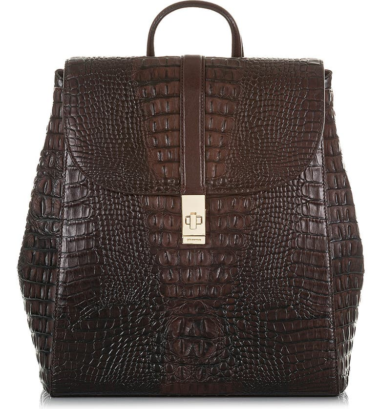 BRAHMIN Sadie Croc Embossed Leather Backpack, Main, color, COCOA SPARROW