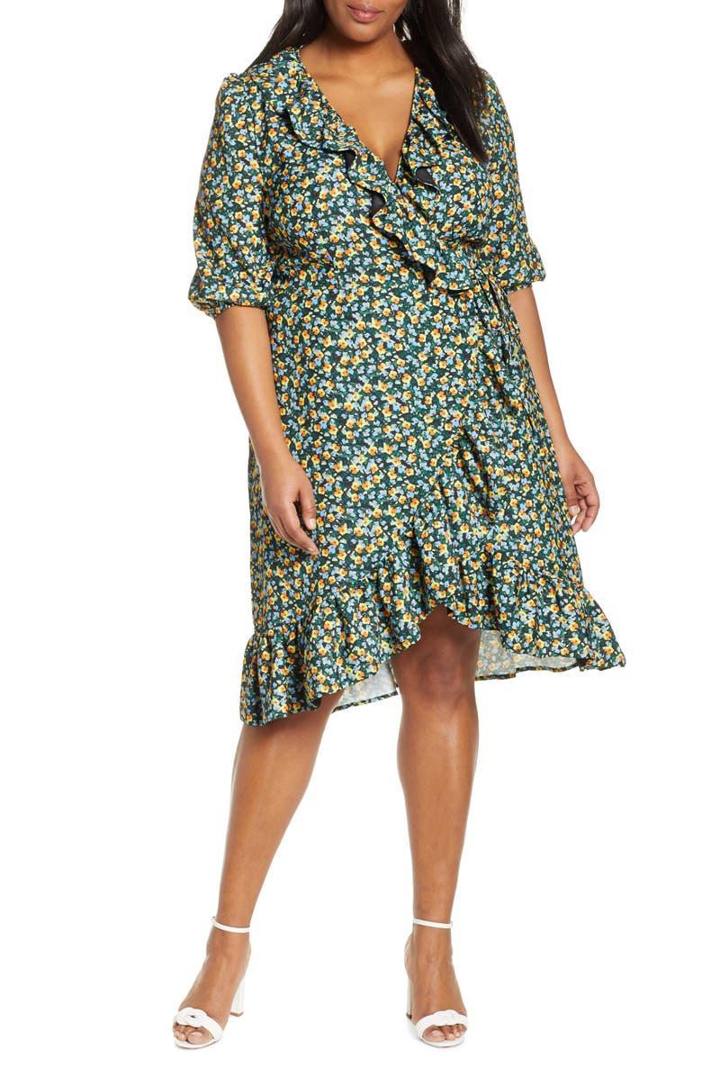 ELOQUII Jason Wu x ELOQUII Floral Print Ruffle Trim Wrap Dress, Main, color, 001