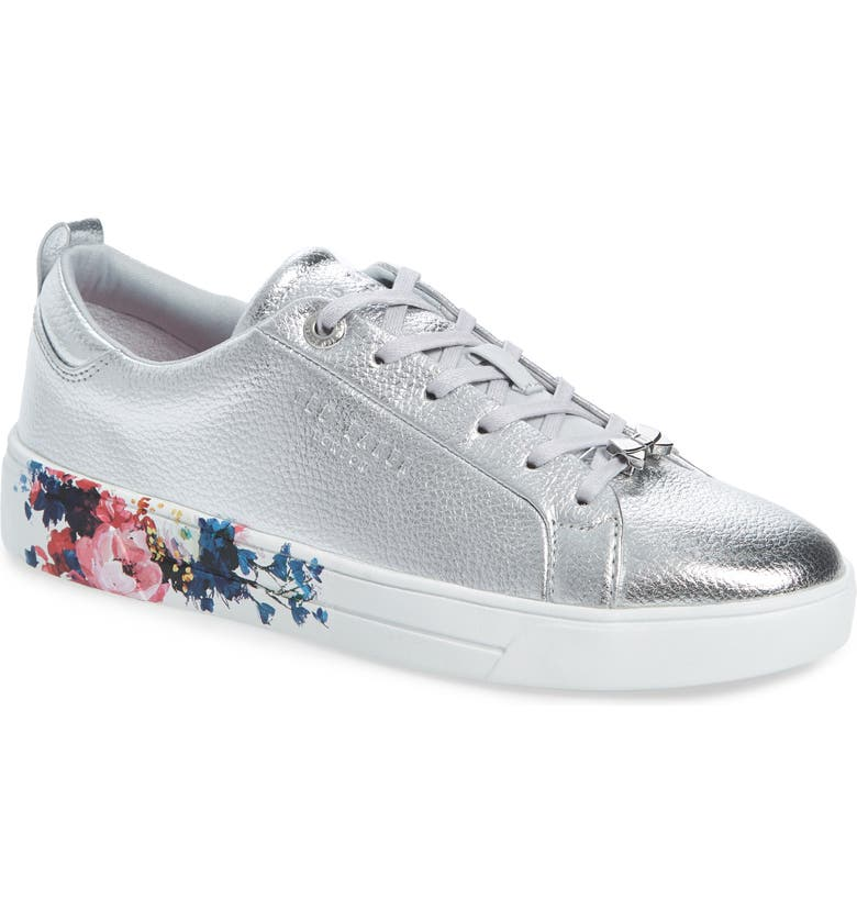 TED BAKER LONDON Roully Sneaker, Main, color, SILVER LEATHER