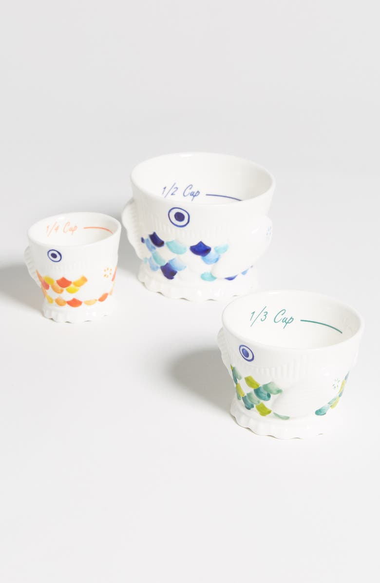 ANTHROPOLOGIE Set of 3 Fish Measuring Cups, Main, color, WHITE MULTI