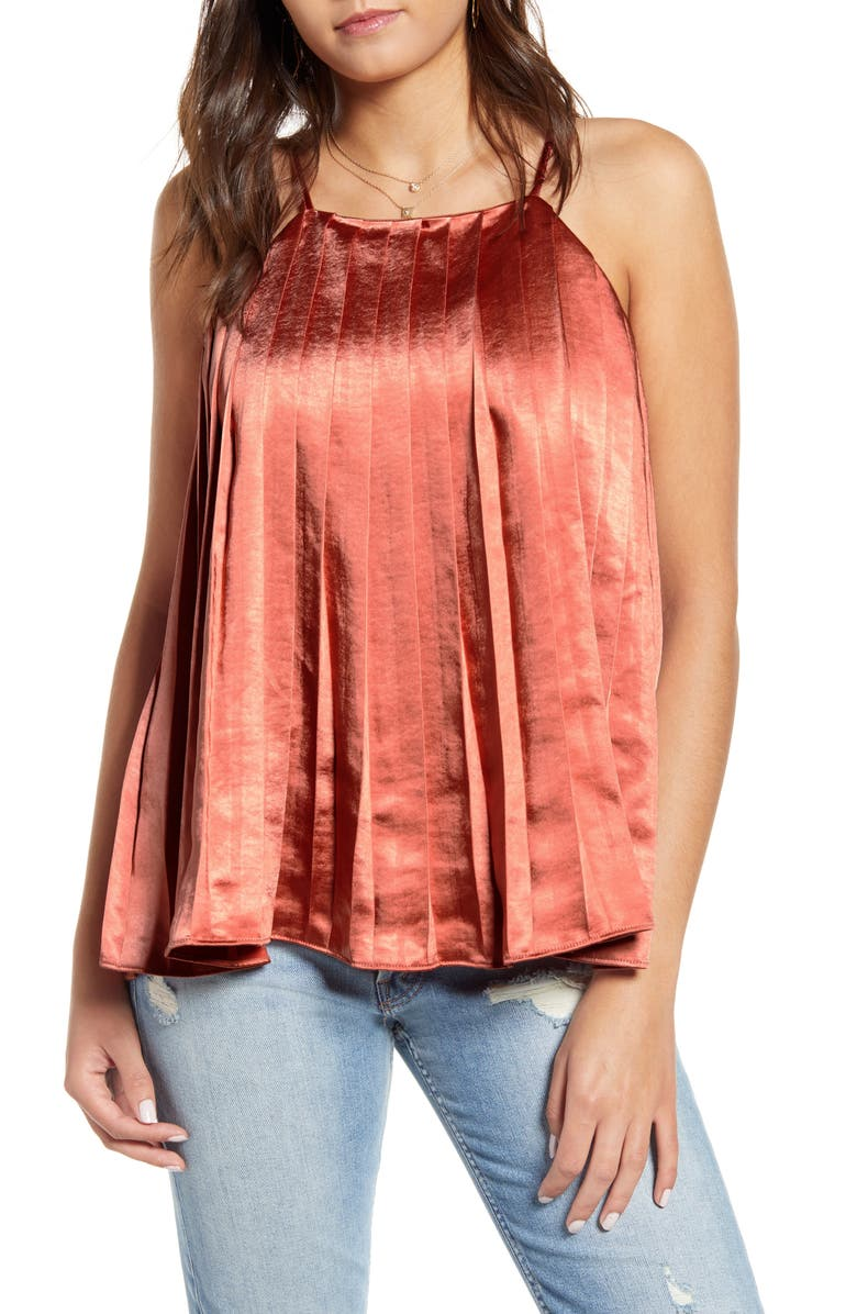 ENDLESS ROSE Pleated Tank Top, Main, color, RED
