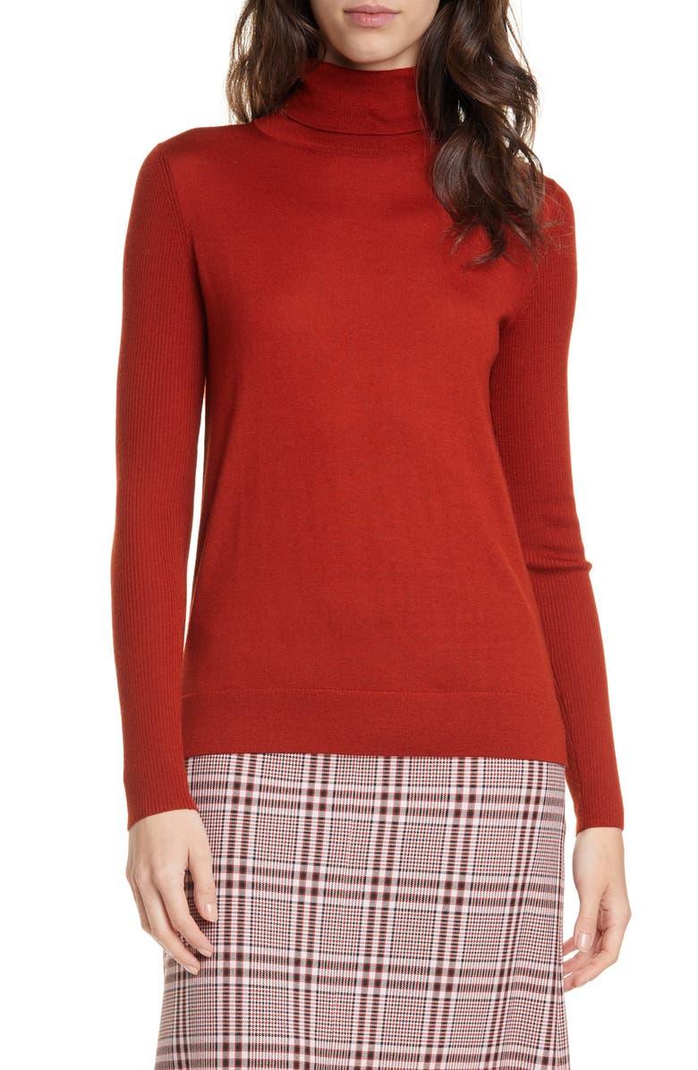 HUGO Sedenn Turtleneck Merino Wool Sweater, Main, color, RUST/ COPPER