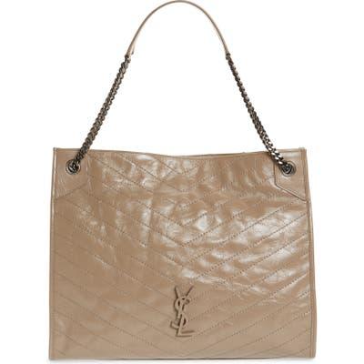 Saint Laurent Large Niki Calfskin Leather Shopper - Grey