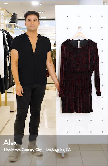 x Glam Tara Gibson Flocked Velvet Long Sleeve Date Dress, sales video thumbnail