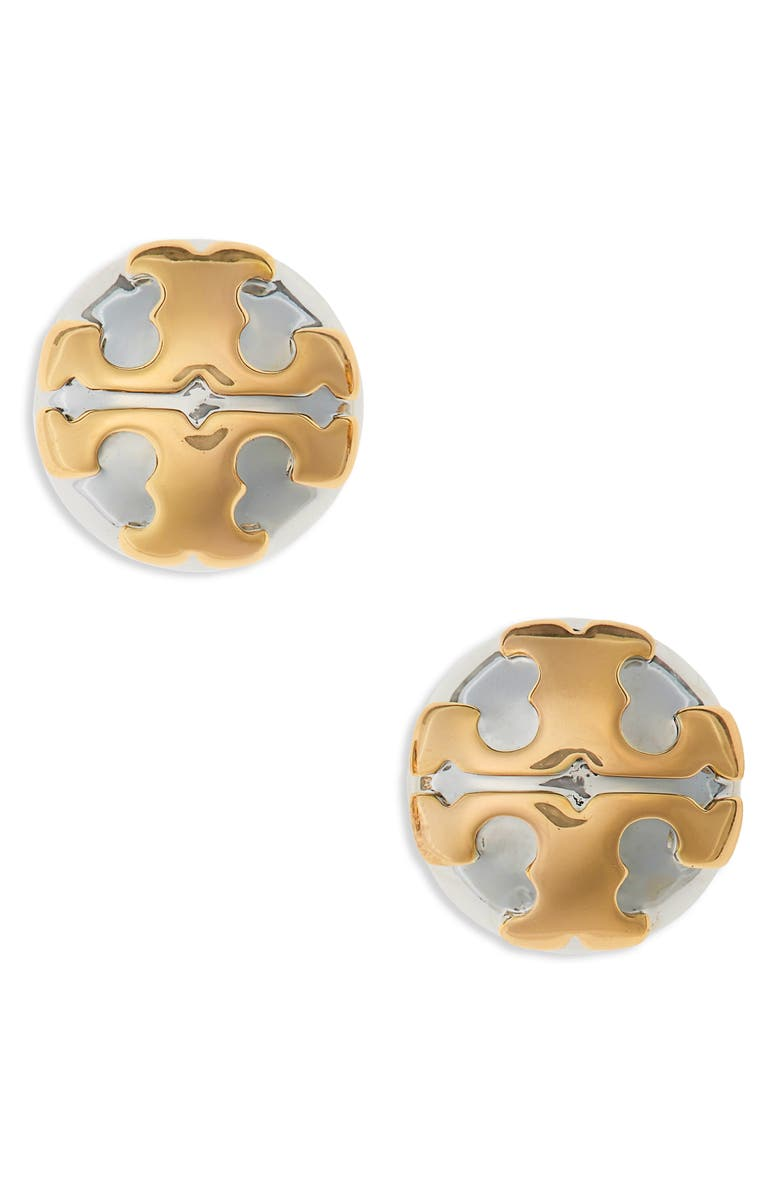 TORY BURCH Stacked-T Logo Earrings, Main, color, TORY SILVER / TORY GOLD