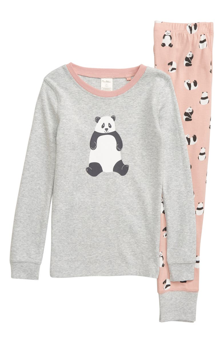 MINI BODEN Cozy Fitted Two-Piece Pajamas, Main, color, PNK CHALKY PINK PANDAS