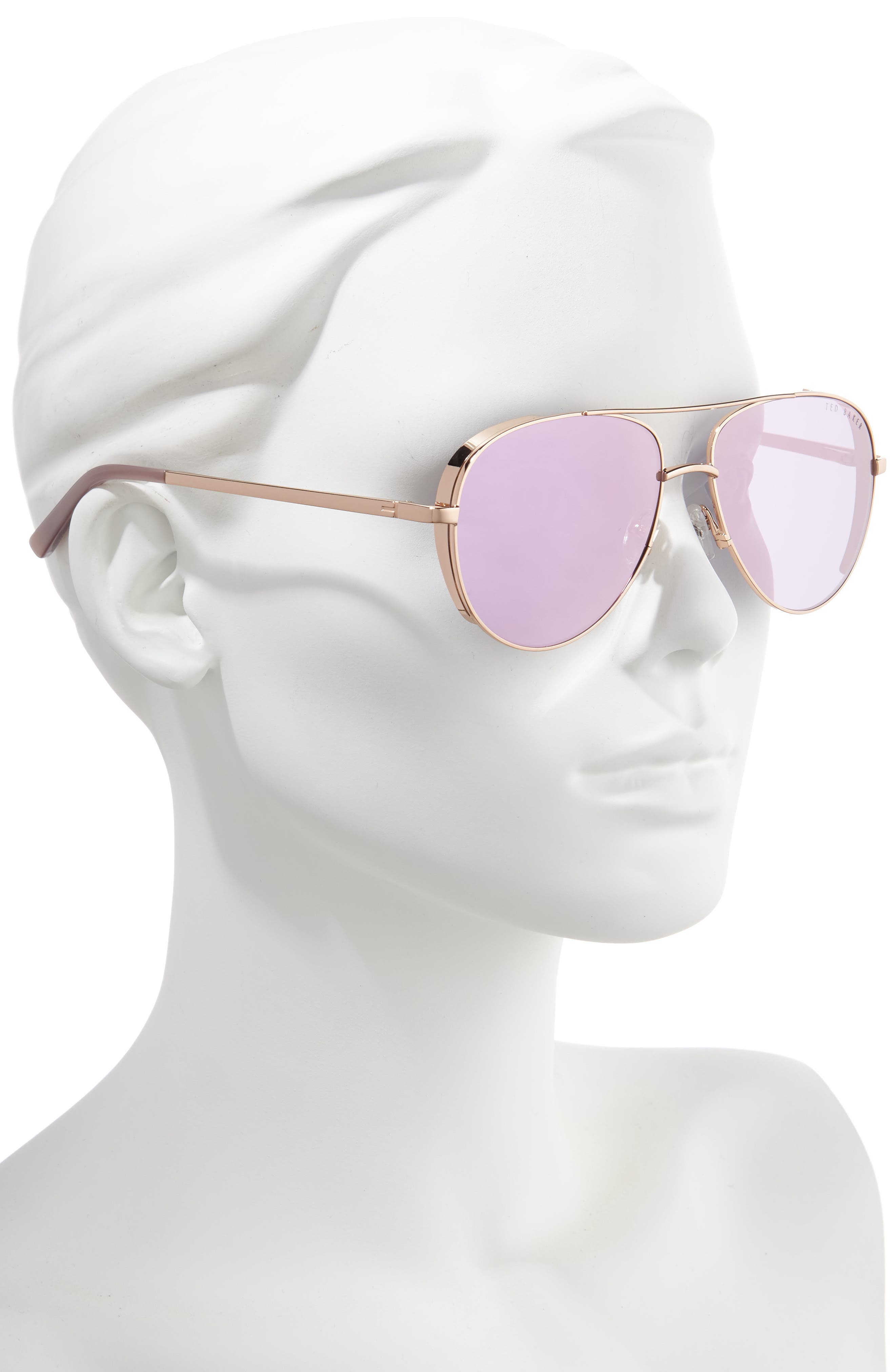 ,                             57mm Aviator Sunglasses,                             Alternate thumbnail 2, color,                             GOLD/ ROSE GOLD