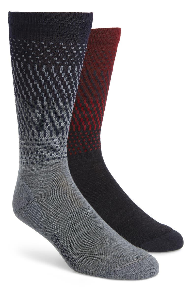 ICEBREAKER Lifestyle Ombré Stripe 2-Pack Merino Wool Blend Light Crew Socks, Main, color, JET HEATHER/ TWISTER HEATHER
