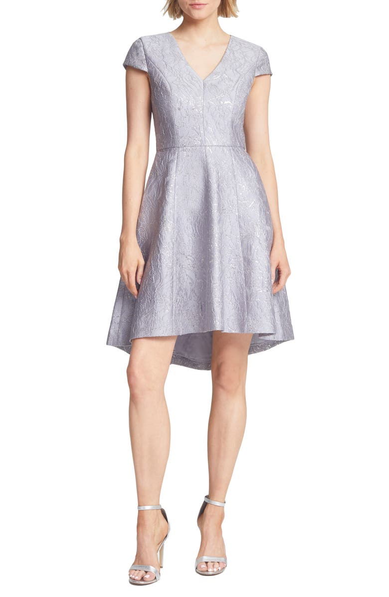 HALSTON HERITAGE Metallic Jacquard High/Low Cocktail Dress, Main, color, SILVER GREY