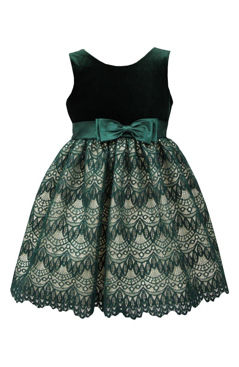 SORBET Lace & Velvet Dress, Main, color, 300