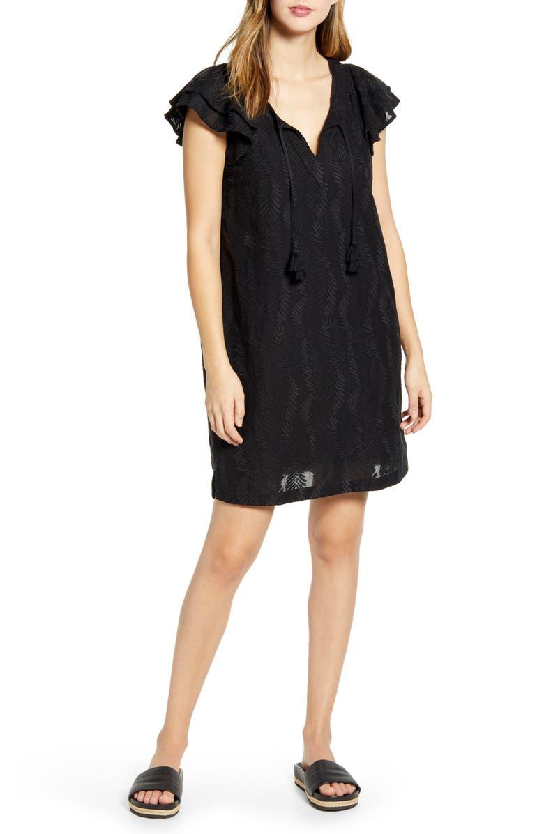 VINEYARD VINES Palm Embroidered Tunic Dress, Main, color, JET BLACK