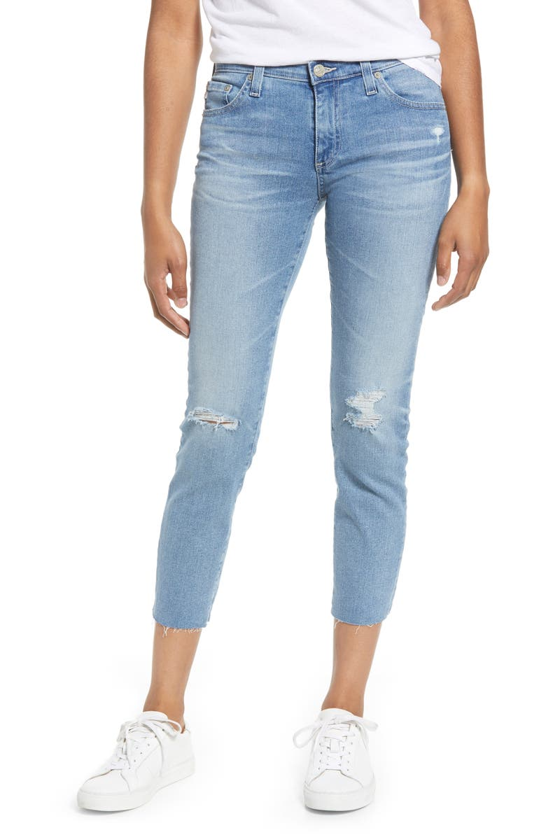 AG Prima Crop Skinny Jeans, Main, color, 24 YEARS SUMMER HAZE