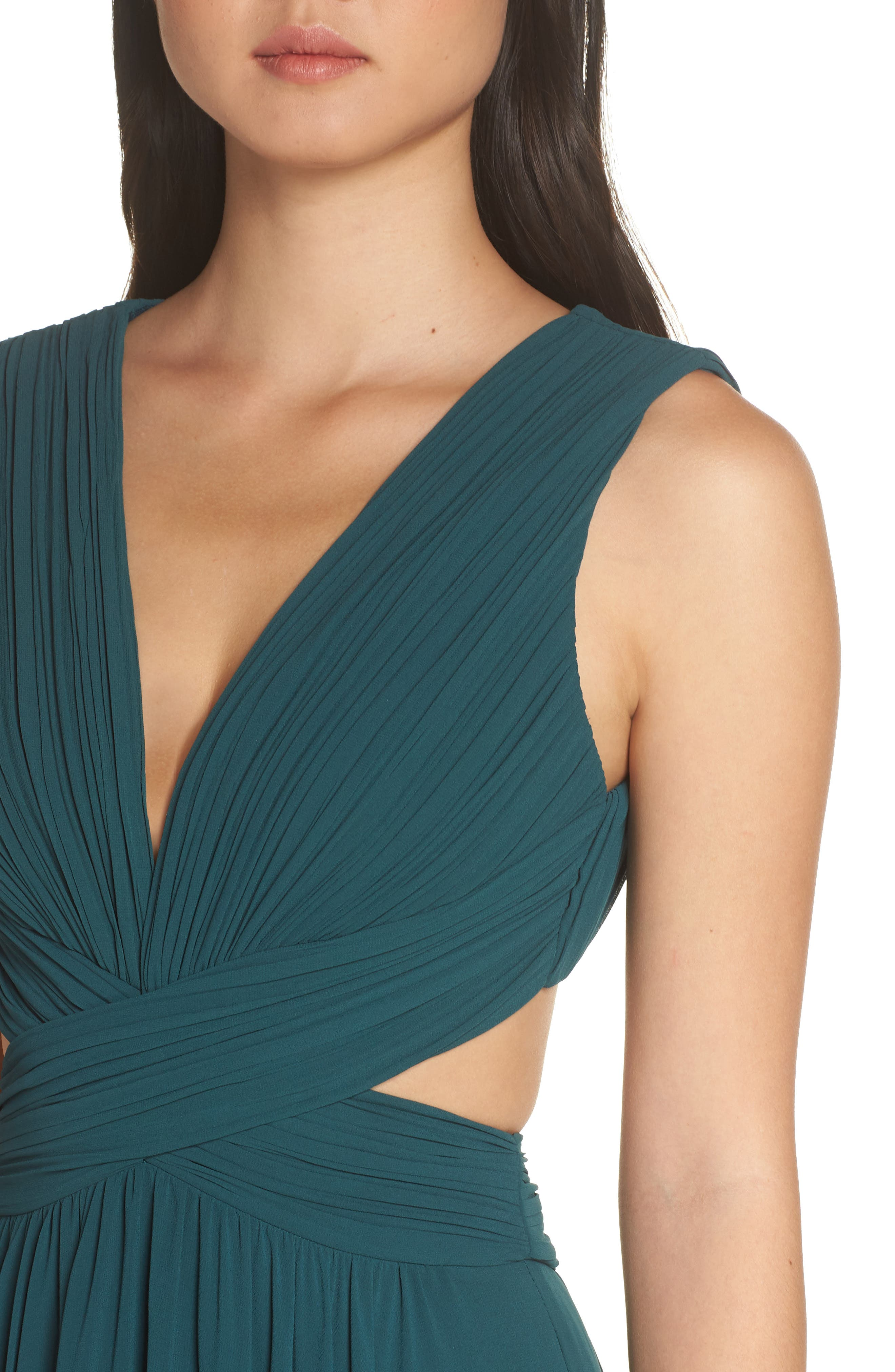 ,                             Vivid Imagination Chiffon Gown,                             Alternate thumbnail 5, color,                             FOREST GREEN