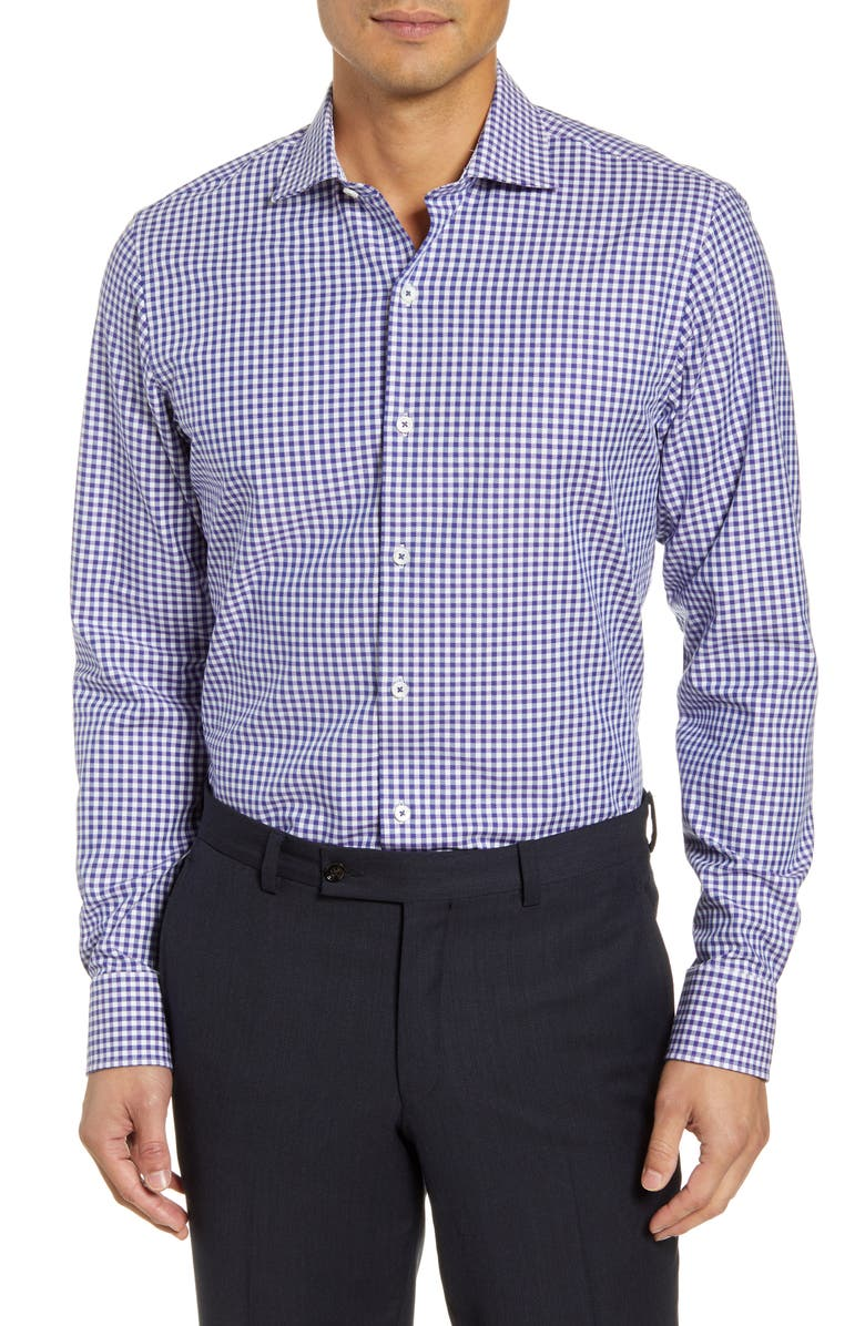 BUGATCHI Trim Fit Stretch Check Dress Shirt, Main, color, NAVY