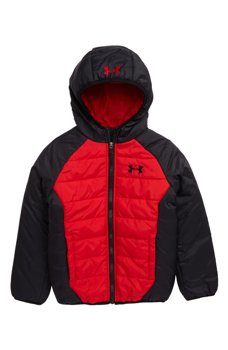 UNDER ARMOUR Tuckerman UA Storm Waterproof Hooded Jacket, Main, color, RED