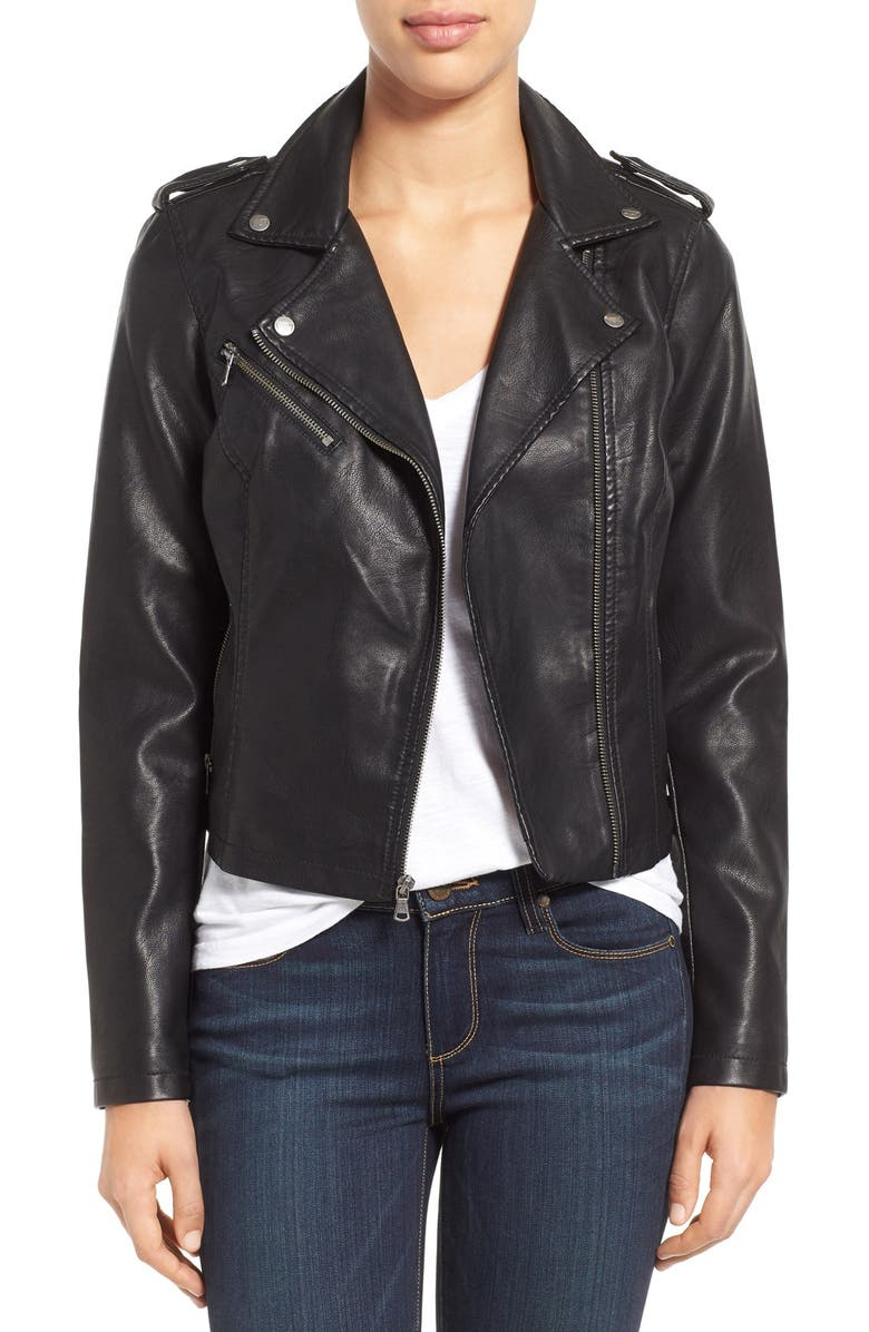 LEVI'S<SUP>®</SUP> Faux Leather Moto Jacket, Main, color, 001